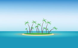 Abstract island design with green palm trees and blue water Stock Photos