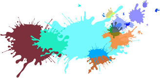 Abstract isolated colorful paint and splatter background Royalty Free Stock Photos