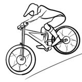 Single male bicyclist on bicycle. royalty free illustration