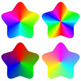 Abstract isolated gradient rainbow star set Stock Photography