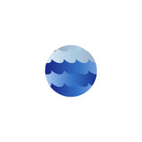 Abstract isolated round shape liquid, blue color ocean, wave and sky, cloud logo. Water stylized vector logotype. Stock Image