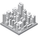 Abstract Isometric City. Concept. Ready for Your Text and Design Stock Image