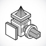 Abstract isometric construction, vector. Artisic abstraction illustration Royalty Free Stock Photography