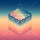 Abstract isometric cube with the reflection of the space and low Stock Photography