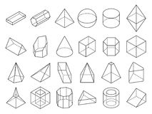 Abstract isometric 3d geometric outline shapes vector set Stock Photos
