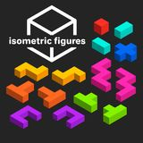 Abstract isometric figures set, creative. Background Royalty Free Stock Image