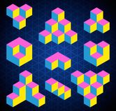 Abstract isometric figures set,. Creative background Stock Images