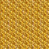 Abstract isometric golden seamless pattern. Royalty Free Stock Image