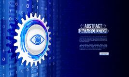 Abstract isometric high tech background with cyber eye data prot Stock Image