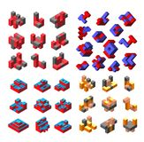 Abstract isometric logotype. Abstract isometric set logotype dimensional 3D shape template for business cards, invitations, presentations and printing Royalty Free Stock Images