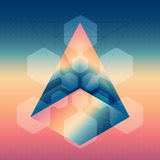 Abstract isometric prism with the reflection of the space and lo Royalty Free Stock Photography