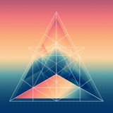Abstract isometric pyramid with the reflection of the environmen Royalty Free Stock Photography