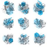 Abstract isometrics backgrounds, 3d vector layout. Compositions Royalty Free Stock Photography