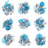 Abstract isometrics backgrounds, 3d vector layout. Compositions. Of cubes, hexagons, squares, rectangles and different abstract elements. Vector collection Stock Images