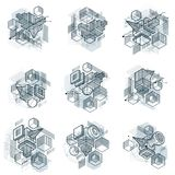 Abstract isometrics backgrounds, 3d vector layout. Compositions. Of cubes, hexagons, squares, rectangles and different abstract elements. Vector collection Stock Photo