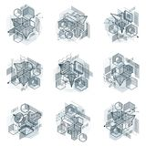 Abstract isometrics backgrounds, 3d vector layout. Compositions. Of cubes, hexagons, squares, rectangles and different abstract elements. Vector collection Royalty Free Stock Photography