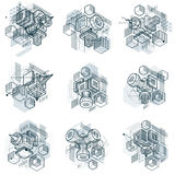 Abstract isometrics backgrounds, 3d vector layout. Compositions Stock Photos