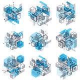 Abstract isometrics backgrounds, 3d vector layout. Compositions Royalty Free Stock Image