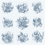 Abstract isometrics backgrounds, 3d vector layout. Compositions. Of cubes, hexagons, squares, rectangles and different abstract elements. Vector collection Stock Photos