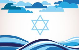 Abstract israel flag as sea and blue sky Royalty Free Stock Photos