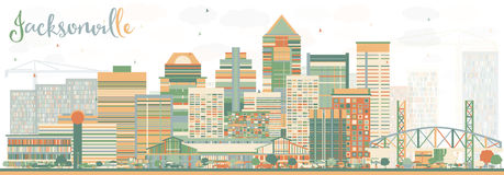 Abstract Jacksonville Skyline with Color Buildings. Royalty Free Stock Images