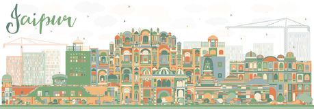 Abstract Jaipur Skyline with Color Landmarks. Vector Illustration. Business Travel and Tourism Concept with Historic Buildings. Image for Presentation Banner Royalty Free Stock Photos