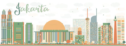 Abstract Jakarta skyline with color landmarks. Stock Photo