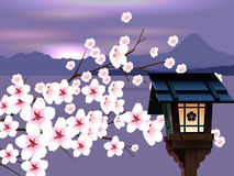 Abstract Japanese Landscape. Japanese mountains background with flashlight and sakura vector illustration
