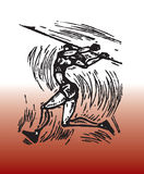 Abstract javelin design. Abstract artistic illustration of person throwing javelin, sporting theme vector illustration