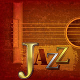 Abstract jazz music background. Abstract cracked jazz music background with acoustic guitar Stock Image