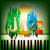 Abstract jazz music background. Abstract grunge green background with the word jazz and piano Stock Images