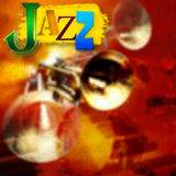 Abstract jazz music background. Abstract grunge background with trumpets and word jazz Royalty Free Stock Photo