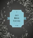 Abstract jazz music festival advertising poster template. Abstract jazz music festival advertising poster template with music tunes Royalty Free Stock Images