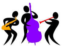 Abstract Jazz Trio/eps. Colorful abstract illustration of a musical jazz band with bass player, saxophone player and clarinetist Stock Images