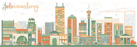 Abstract Johannesburg Skyline with Color Buildings. Stock Images