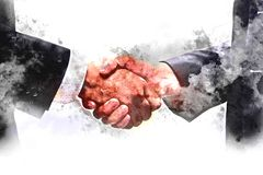 Abstract Join hands business concept and handshake concept. Abstract Hand Shake business concept on watercolor illustration painting background vector illustration