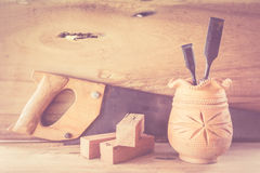 Abstract joiner tools on wood table background. Royalty Free Stock Photos