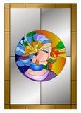 Abstract jong het gebrandschilderde glaspatroon van het vrouwen kleurrijk gezicht royalty-vrije illustratie