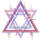 Abstract kader in de vorm van een zes-gerichte ster met een glitch effect stock illustratie
