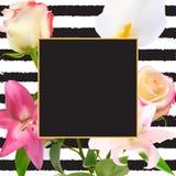Abstract Kader met Lelie en Rose Flower Natuurlijke achtergrond Vector illustratie Royalty-vrije Stock Afbeelding