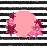 Abstract Kader met Lily Flower Natuurlijke achtergrond Vector illustratie Stock Foto