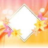 Abstract Kader met Lily Flower Natuurlijke achtergrond Vectorillu Royalty-vrije Stock Afbeelding