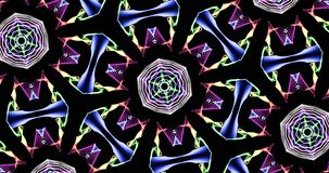 Kaleidoscopic Pattern On Dark Background In Vibrant Colors. Abstract Kaleidoscope Patterns On Dark Background In Green Yellow Purple Orange Red Blue White Lines Royalty Free Stock Photos
