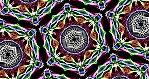 Kaleidoscopic Pattern On Dark Background In Vibrant Colors. Abstract Kaleidoscope Patterns On Dark Background In Green Yellow Purple Orange Red Blue White Lines Royalty Free Stock Photo