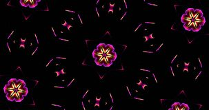 Abstract Kaleidoscope Patterns On Dark Background In Purple Yell Royalty Free Stock Image