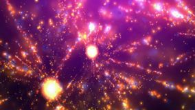Abstract kaleidoscope in purple, violet, yellow, green, with stars, fireworks, lines Stock Photography