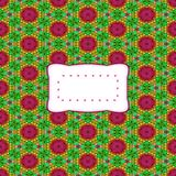 Abstract kaleidoscopic decorative background with etiquette Royalty Free Stock Photos