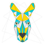 Abstract kangaroo. Blue, yellow and grey blended colored polygonal triangle geometric portrait  on white. Abstract blue, yellow and grey blended colored Stock Photos