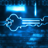 Abstract key and binary code Stock Photography