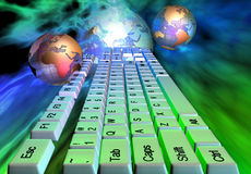 Abstract keyboard. Keyboard on abstract background and two globes - 3d render stock illustration